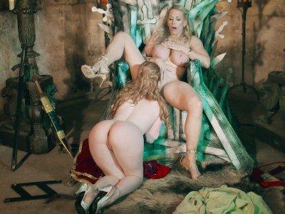 British sluts Ella Hughes and Rebecca More play lesbo games