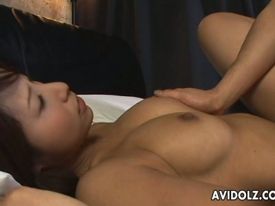 Curvaceous Japanese beauty Akira Ichinose facesits and rides on top