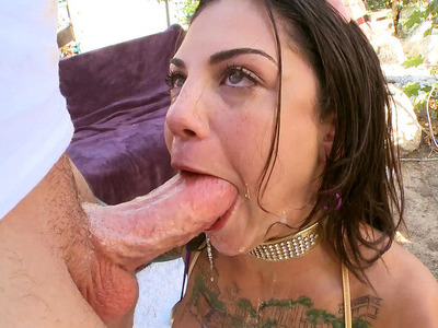 Bonnie Rotten deepthroating and drooling during nasty blowjob