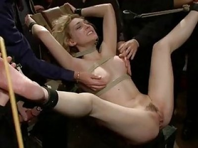 Girl manhandled and wazoo fucked in hard bondage