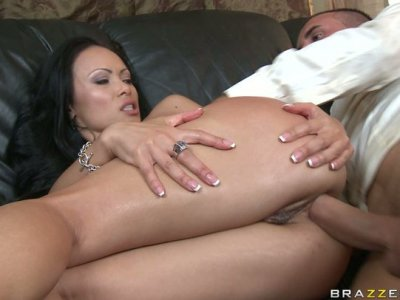 Stunning brunette Mya Luanna gets anal fuck