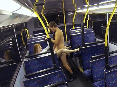 Bus sex with slutty babe and naughty partner