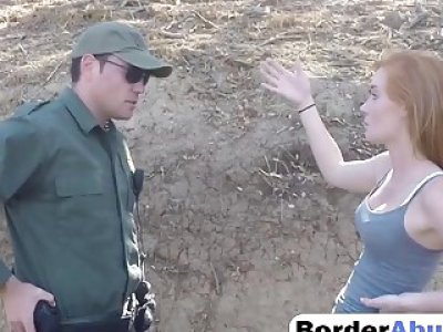College teen with freckles in motor cycle outdoor fucking with border officer