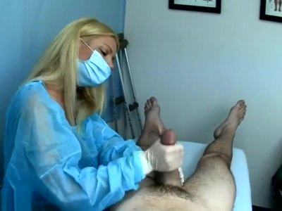 Nurse Gives Gloved Handjob