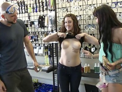 Three women flashed their nice boobies