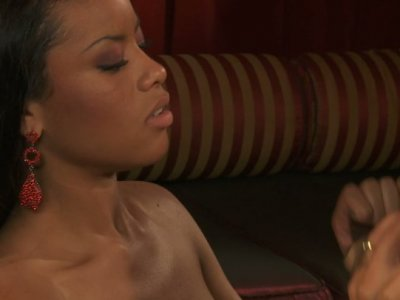 Big black dude sucks awesome boobies of pretty Rihanna Rimes