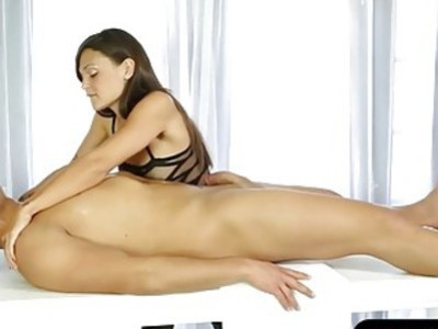 Sexy brunette masseuse pussy fucked and jizzed by her client