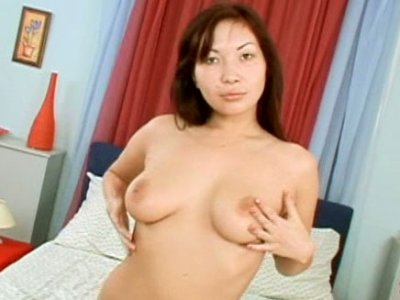 Exotic brunette babe giving blowjob of premium class