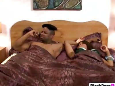 Busty black babe with jiggly butt excitedly moans while getting fucked