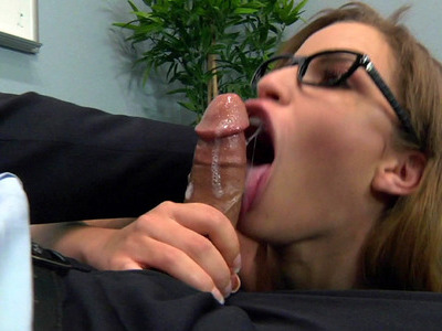 Nasty secretary Natasha White gives the sloppy blowjob to her boss