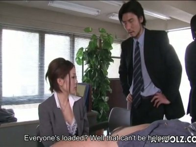 Short haired chick Iroha Kawashima gives blowjobs to her colleagues