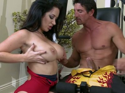 Brunette guy can't take his hands off gorgeous tits of Jayden Jaymes