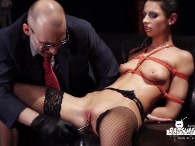 Nasty skank in stockings enjoys maledom BDSM session in dungeon