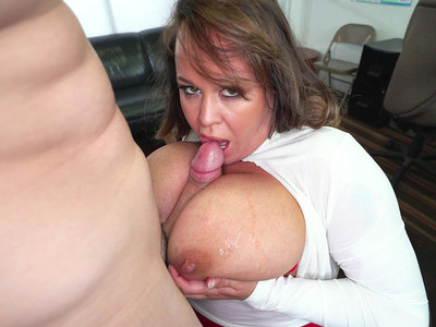Brandy Talore squeezes his rod between her swollen hooters