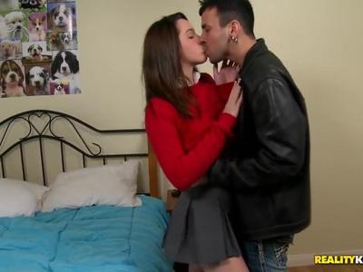 Schoolgirl Jaslene takes fat cock in her teen mouth