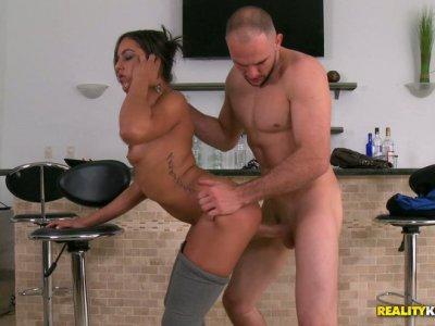 Juicy Jazmin gives blowjob and sends cock between her buns