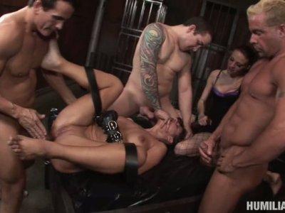 Three horny dicks caught and tied Cathy Heaven preparing for gang bang