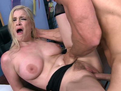 Busty babe Danielle Delaunay gets her trimmed box slammed