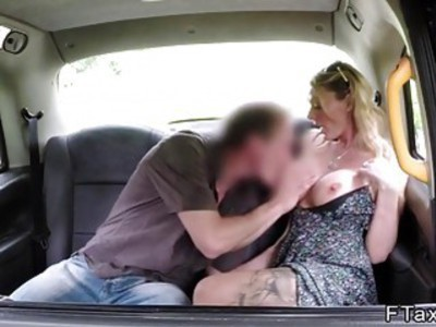 Busty underwear model bangs in fake taxi