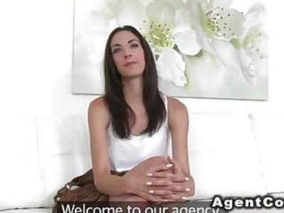 Big cock fake agent fucks slim babe in casting