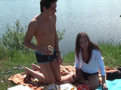 Anne in hot hard sex in nature in a sex tape video