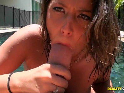 Janet walks out of pool to blow Preston Parker