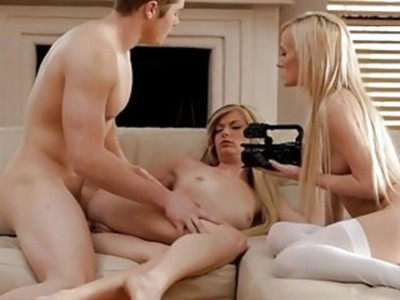 Babes blowjob drives stud to pound her harder