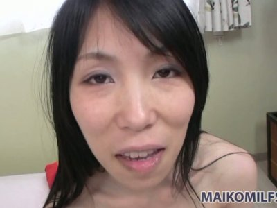 Yuko Mukai fools around in the bathroom and blows small dick