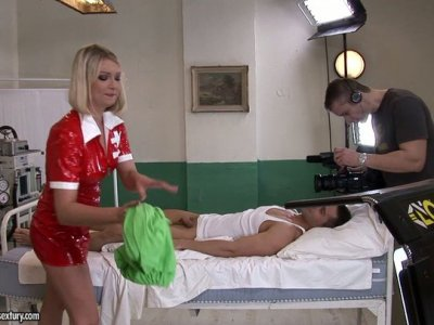 Back stage video of Lucy Heart riding a hard prick