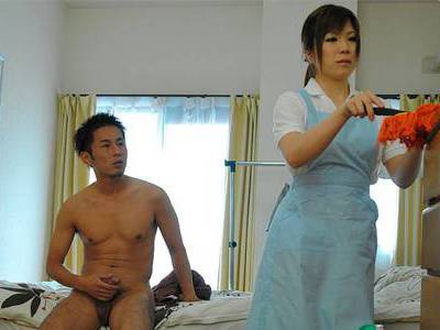 All Wet and Horny Japanese Maid