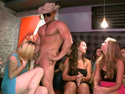 Crummy bitches are sucking hard cock of a stripper
