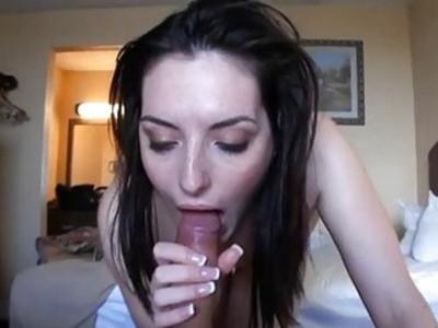 Hottie captivates dude with wet oral pleasure