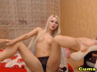 Blonde Petite babe teasing On Cam
