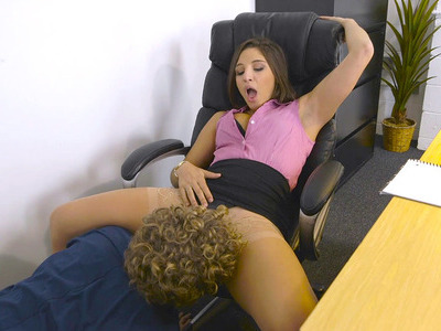 Abella Danger has the local janitor eat her hairy pussy