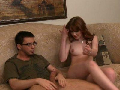 Curvy redhead beauty Marie McCray topping nerd's dick